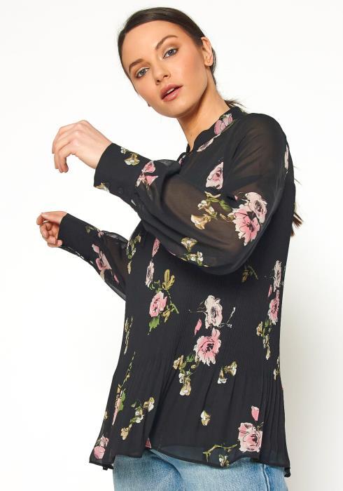 Pleione Womens Floral Print Mandarin Collar Pleated Blouse
