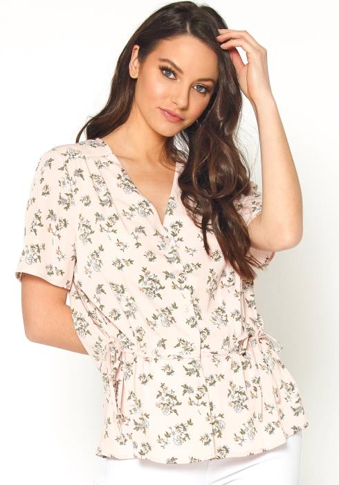 Tansy Womens V Neck Floral Print Top