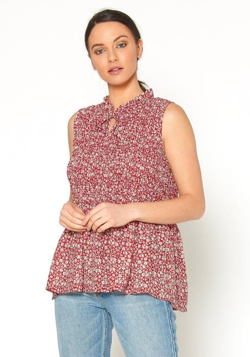 Tansy Womens Floral Crepe Mock Neck Tank Blouse