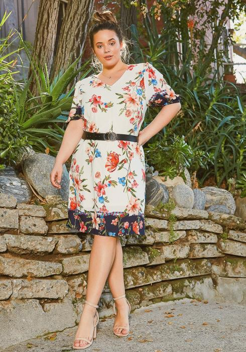 Asoph Plus Size Rosey Garden Flare Midi Dress