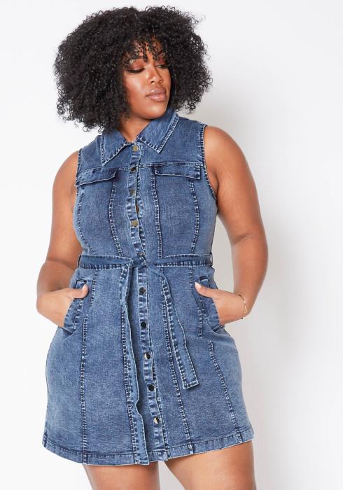 Asoph Plus Size Blue Denim Collared Tank Mini Dress
