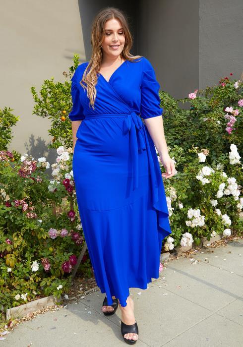 Asoph Plus Size Royal Blue V Neck Maxi Dress