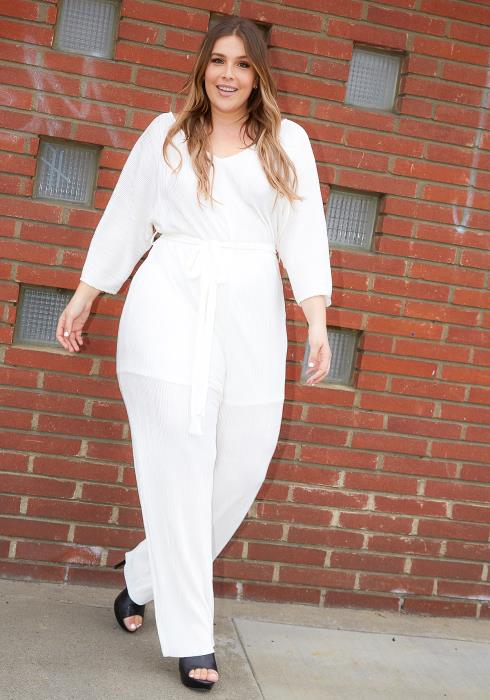 Asoph Plus Size Womens White Pleated V Neck Jumpsuit