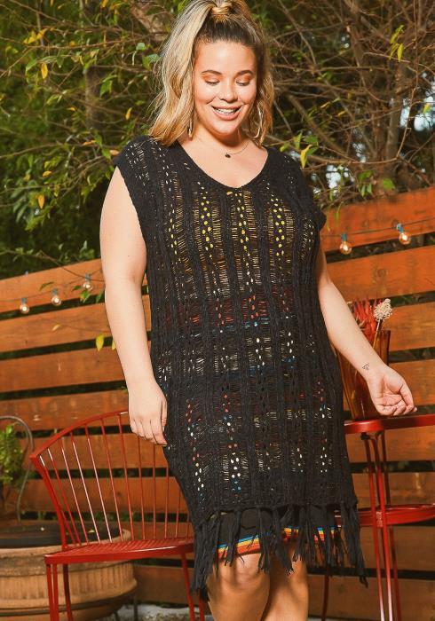 Asoph Plus Size Tassel Fringe End Crochet Cover Up Dress