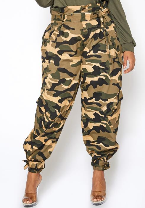 Asoph Plus Size Camouflage Paperbag Waist Pants