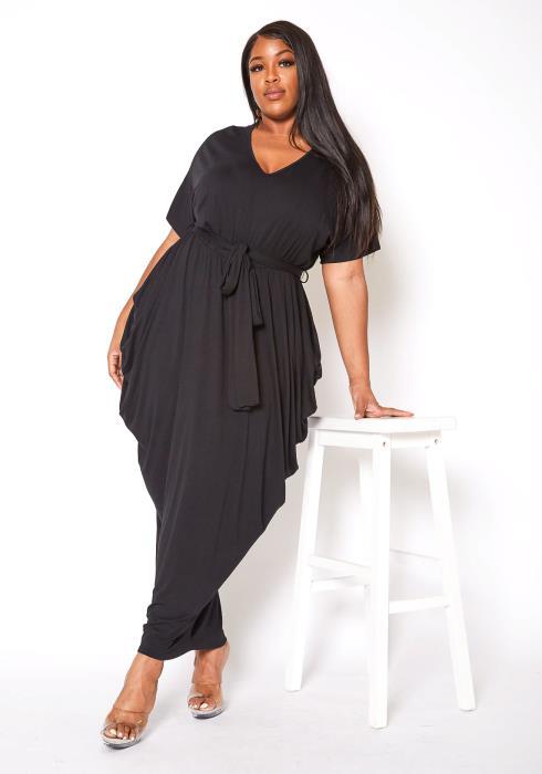 Asoph Plus Size Everyday Basic V Neck Harem Maxi Dress