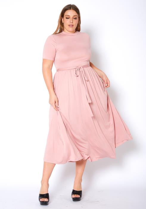 Asoph Plus Size Dusty Pink Womens Fit & Flare Midi Dress