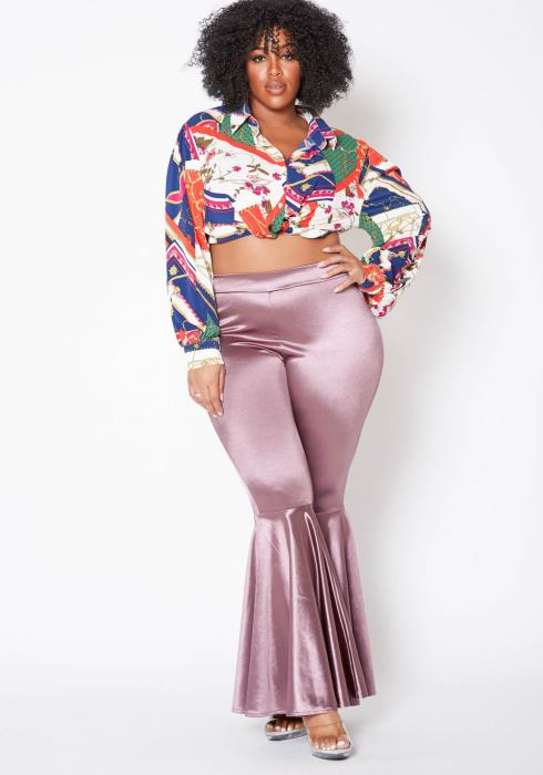 Asoph Plus Size Dreamy Satin Lavender Bell Bottom Pants
