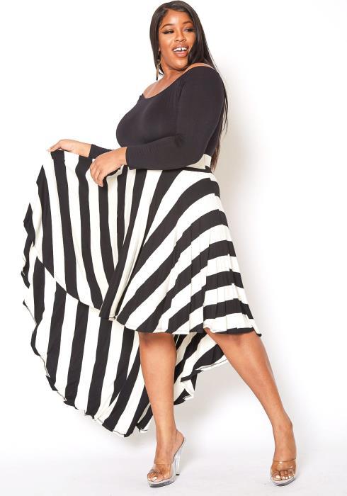 Asoph Plus Size Stripe Contrast Off Shoulder Fit & Flare Dress