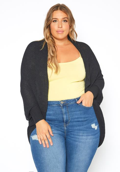 Asoph Plus Size Open Front Batwing Sleeve Knit Cardigan