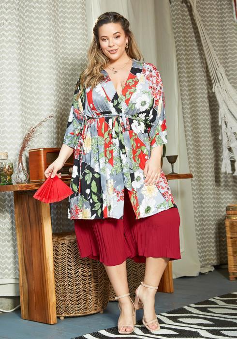 Asoph Plus Size Asian Floral Art Kimono Blouse