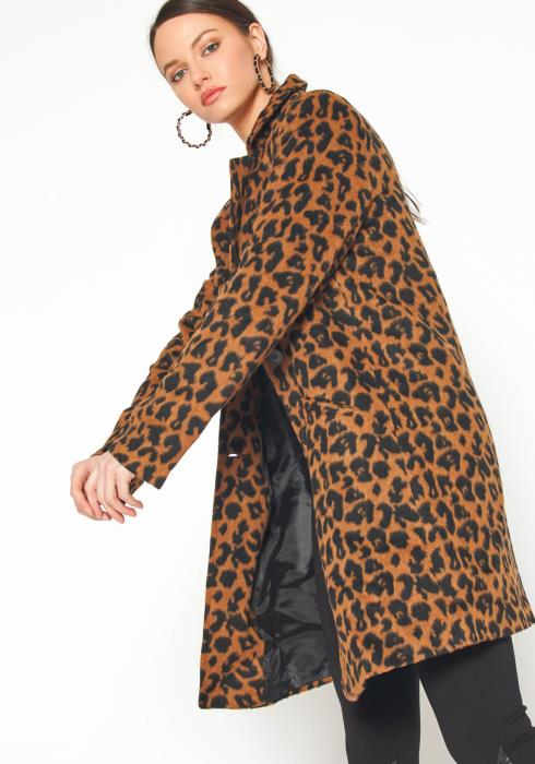 Pleione Womens Brown Leopard Print Longline Brushed Fur Coat