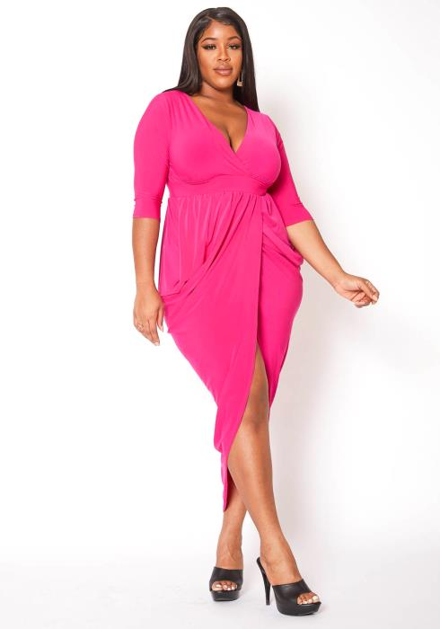 Asoph Plus Size Hot Fuchsia High Low Party Dress