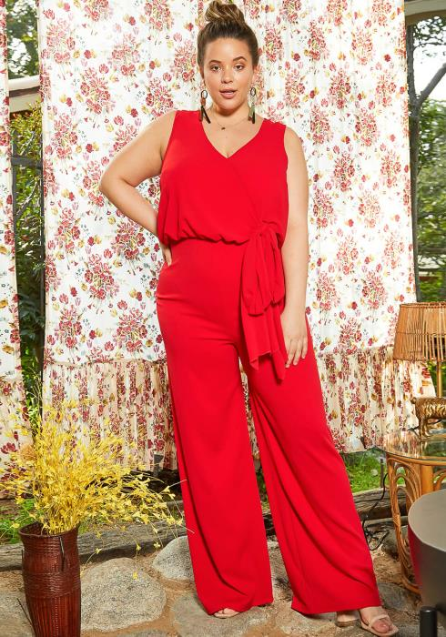 Asoph Plus Size Romantic Sleeveless Straight Jumpsuit