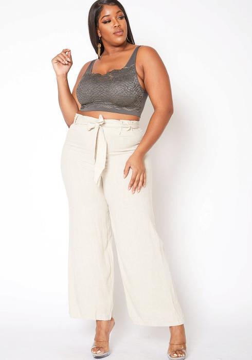 Asoph Plus Size Linen Paperbag Waist Women Straight Pants