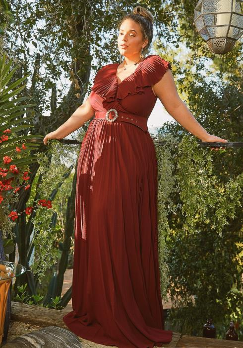 Asoph Plus Size Angelique Empire Pleated Maxi Dress With Belt