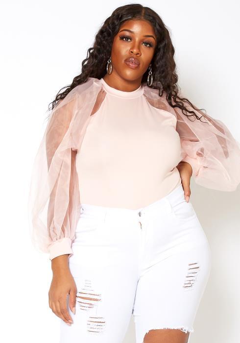 Asoph Plus Size Blushing Pink Chiffon Sleeve Bodysuit
