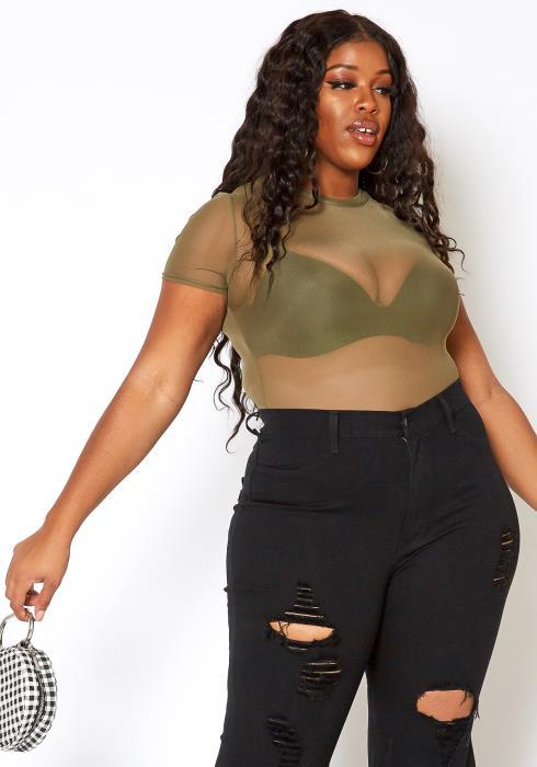 Asoph Plus Size Mesh Olive Tee Shirt Bodysuit