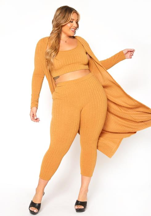 Asoph Plus Size Comfortable Ribbed Knit Three Piece Set