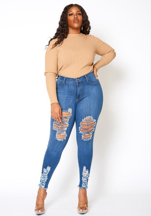 Vibrant Plus Size Blue Washed Distress Hem Skinny Jean