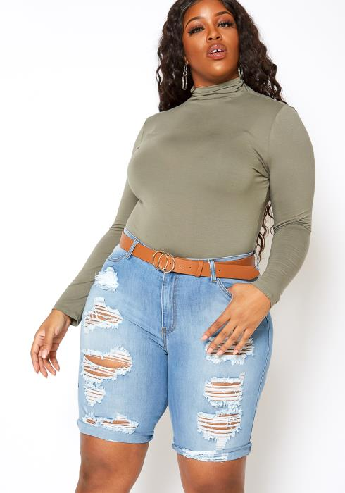 Vibrant Light Wash Distressed Bermuda Plus Size Shorts