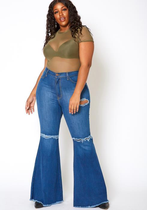 Vibrant Plus Size Womens Bold Flare Hem Denim Jean