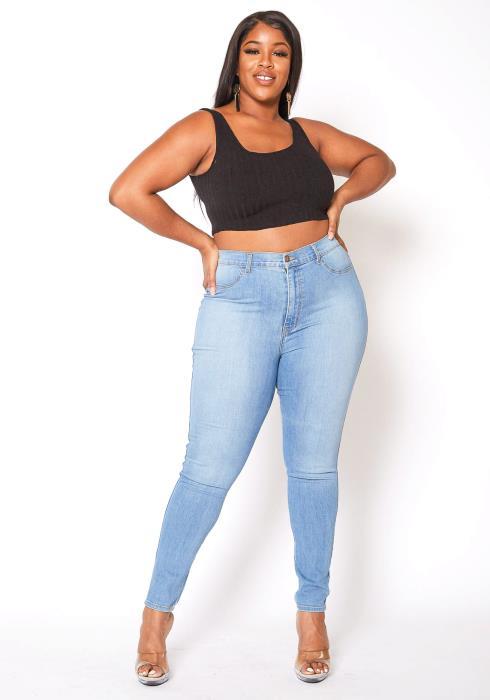 Vibrant Plus Size Light Washed Classic Skinny Denim Jean