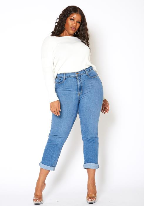 Vibrant Plus Size Womens Vintage Blue Wash Mom Jean