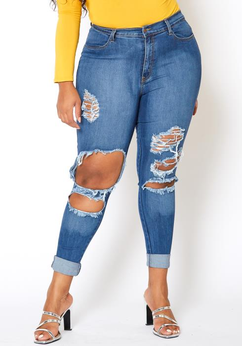 Vibrant Plus Size Knee Destroyed Mid Waist Jean