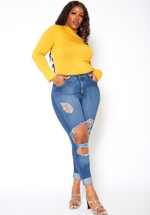 Vibrant Plus Size Mid Waist Knee Rip Jean