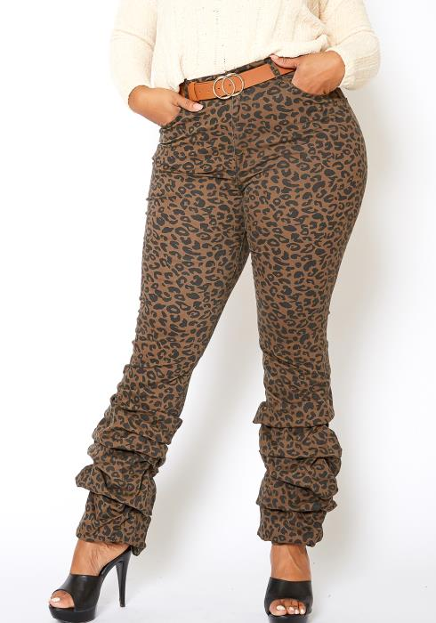 Vibrant Plus Size Womens Leopard Ankle Scrunched Jean