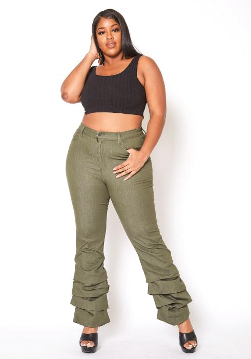 Vibrant Plus Size Womens Olive Ankle Scrunched Jean