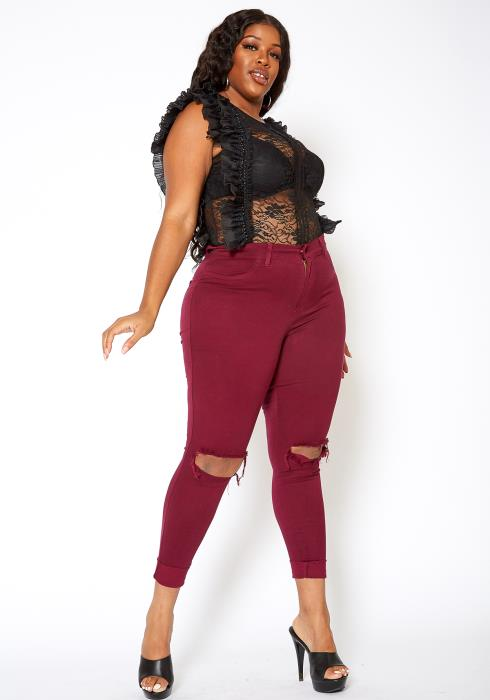 Vibrant Mid Rise Knee Distressed Plus Size Skinny Jean