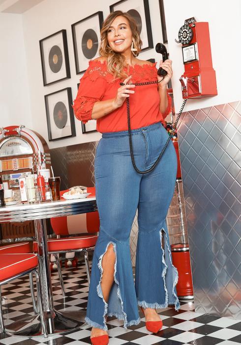 Vibrant Plus Size Blue Washed 90s Bell Bottom Fringe Slit Jean