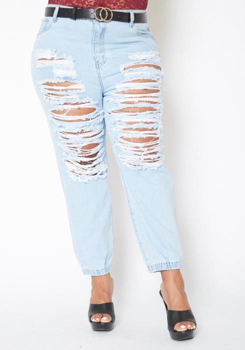 Vibrant Plus Size Light Wash Destroyed Boyfriend Jeans