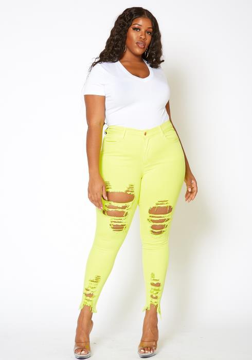 Vibrant Plus Size Neon Distressed Skinny Denim Jeans
