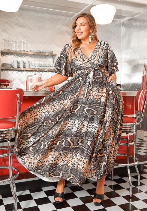 Asoph Plus Size Snakeskin Print V Neck Maxi Dress