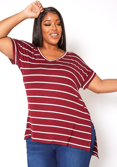 Asoph Plus Size Basic Striped V Neck Tee Shirt