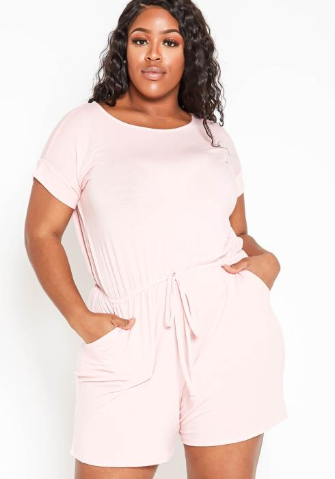 Asoph Plus Size Everyday Comfort Womens Tee Romper