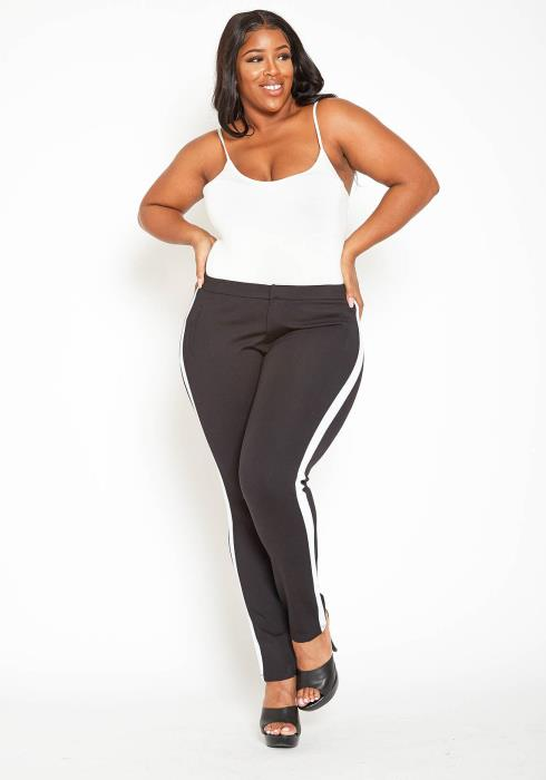 Asoph Plus Size Striped Side Fitted Low Rise Pants