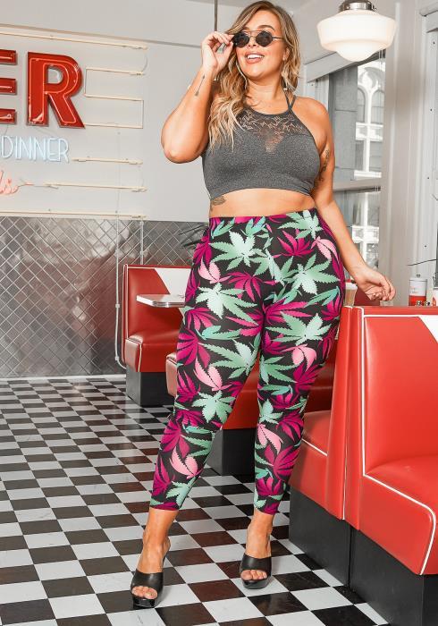 Asoph Plus Size High Rise Cannabis Leaf Print Leggings