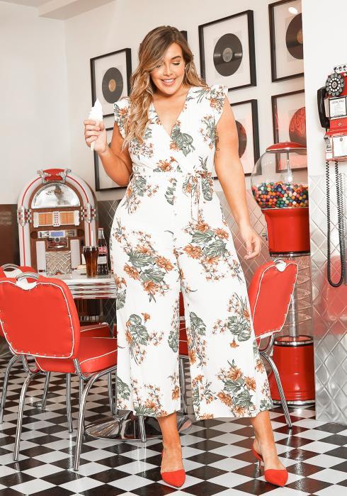 Asoph Plus Size Sleeveless Spring Floral Jumpsuit