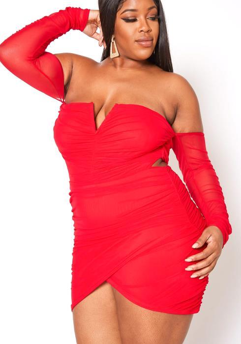 Asoph Plus Size Flirty Romantic Off Shoulder Ruched Mini Dress