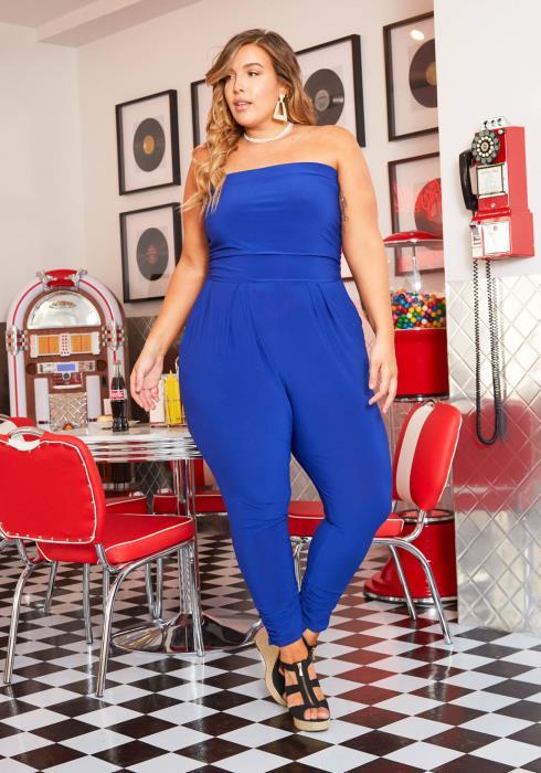 Asoph Plus Size Womens Royal Blue Harem Tube Jumpsuit