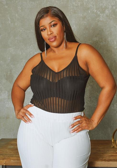 Asoph Plus Size Striped Mesh Cami Bodysuit
