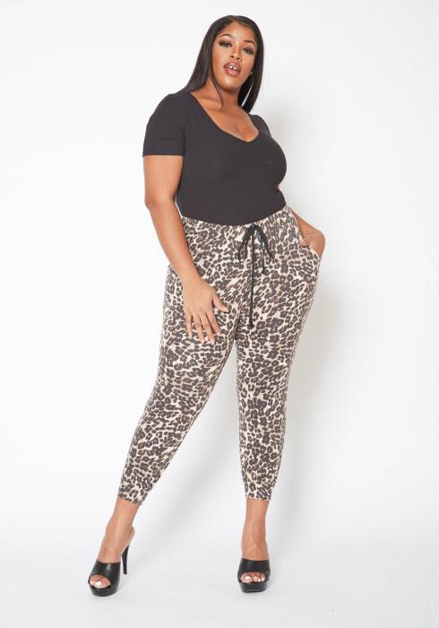 Asoph Plus Size Leopard Print Comfy Joggers