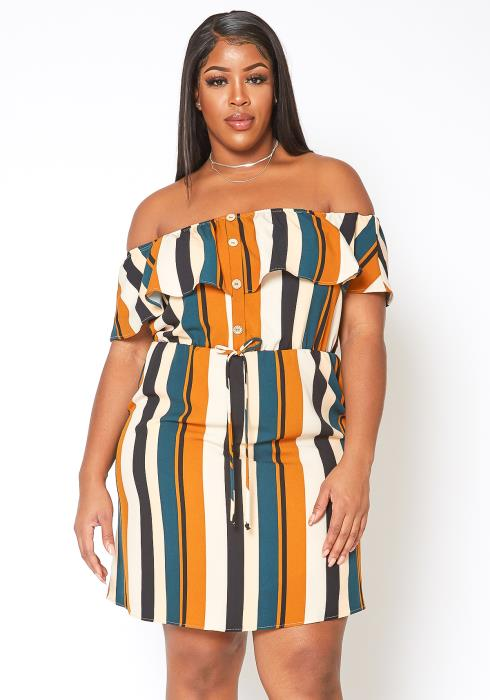 Asoph Plus Size Multi Striped Off Shoulder Dress