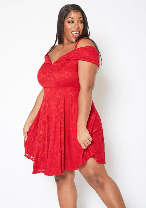 Asoph Plus Size Rosey Lace Strappy Off Shoulder Mini Flare Dress