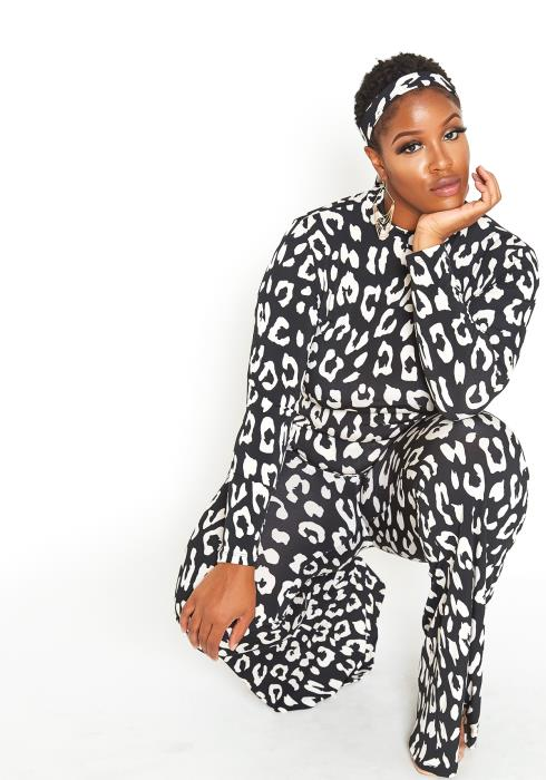 Asoph Plus Size Black White Leopard Print Set