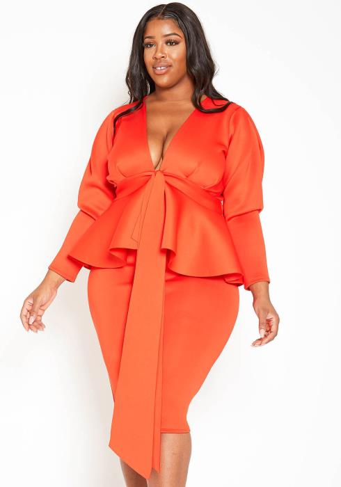 Asoph Plus Size Extravagant Peplum Top & Pencil Skirt Set